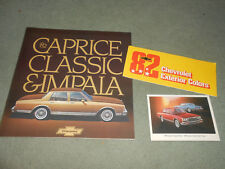 1982 CHEVROLET CAPRICE IMPALA CATALOG + 82 POSTCARD & PAINT COLOR CHIPS BROCHURE