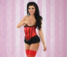 CLASSIFIED - Sexy Under Bust Corset/Basque - Red Satin & Lace trim - Sizes 8-20