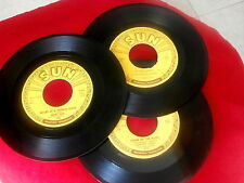 CARL PERKINS~JERRY LEE LEWIS~JOHNNY CASH~10 SUN 45'S~ A STEAL ~ ROCKABILLY 45