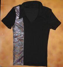 New Dance Short Sleeve Open Collar Black Shirt Hologram Foil Front Men's Small
