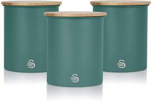 Swan SWKA17513GREN Nordic Scandi Set of 3 Storage, Tea, Coffee and Sugar Caniste