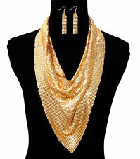 Gold MESH SEQUIN SCARF DRAPE LAYERED Statement Necklace & Earrings Set