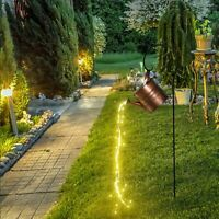 Watering Can, Fairy Lights Solar LED, Magical Garden Ornament Butterfly Ladybug