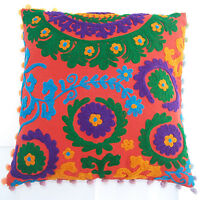 "16x16"" Indian Cotton Pillow Cases Handmade Suzani Embroidery Cushion Cover IFC1"