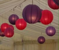 12x Red Purple Paper Lanterns Wedding Anniversary Birthday Events Hanging Decor