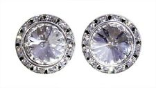 #14998 18mm Rondel with Rivoli Button Earrings