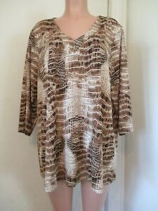 ATTITUDES BY RENEE BROWN SNAKE SKIN PRINT LIQUID KNIT TUNIC TOP, SIZE 1X