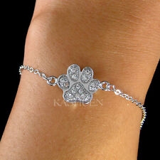w Swarovski Crystal Pawprint Paw Print Dog KITTY CAT Kitten Bracelet Jewelry New