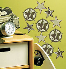 WALLIES CAMOUFLAGE STARS wall stickers 18 decals military army camo wall decor