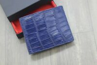 Blue Genuine Crocodile Alligator Tail Leather Skin Wallet Men's Bifold
