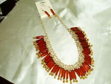 New Crystal Plastic Bib Statement Necklace with Matching Earrings Pierced SALE**