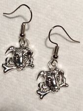 Dog with Bone -Jack Russell Terrier Pewter Charm Drop Earrings Dangles