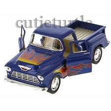 Kinsmart 1955 Chevy Stepside 3100 PickUp Truck 1:32 Diecast with Flame Blue