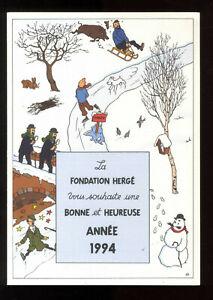 TINTIN - HERGÉ   Belle Carte de Voeux 1994  Fondation Hergé   signée F. Rodwell