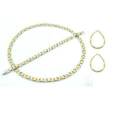 "Womens 2 Tone Hugs & Kisses Necklace Bracelet Earring Set XOXO 20"" Gold/Silver"