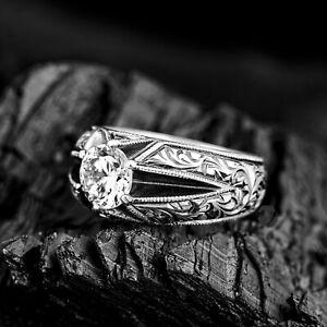 Solid 925 Sterling Silver Erzurum Type Hand-Engraved Zircon Stone Men's Ring