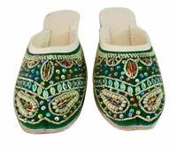 Women Slippers Clogs Indian Handmade Stylish Green Jutties UK 5.5 EU 38.5