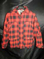 Timberland L Red Black Buffalo Plaid Coat Button Pockets Insulated Wool Blend lg
