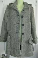 wool mix Smart Jacket Coat Tweed Check Black and white zig zag Mix size 14 uk