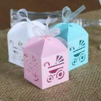 100x Baby Carriage Baby Shower Favour Boxes | Gift Box Macaroon Cookie Candy Box