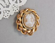 Rebecca At The Well Carved Shell Cameo Brooch Pin Antique EIF Victorian Franklin