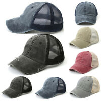 Men Women Mesh Baseball Cap Snapback Hat Hip-Hop Flat Visor Adjustable Bboy Caps