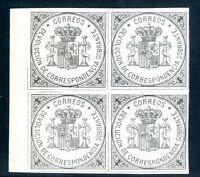 Sellos España 1875 nº 172 sin valor negros.azul Impresionante Bloque de Cuatro