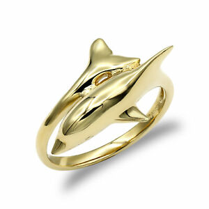 Jewelco London Ladies Solid 9ct Yellow Gold Dolphin Wrap Ring