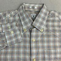 Peter Millar Button Up Shirt Mens Sz M Blue Brown Long Sleeve 100% Cotton Check