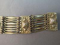 "VTG Taxco Pyramid Etruscan Sterling Silver Bracelet Panel Link 40 Grams 7.5"""