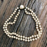 """Vintage 80s Double Strand Pearl Choker Necklace Pearl Clasp 16"""" Long Vtg 1980s"""