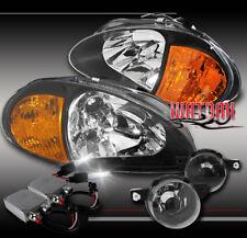 93-95 HONDA DEL SOL CRYSTAL BLACK HEAD LIGHTS+AMBER CORNER+BUMPER FOG+50W 6K HID