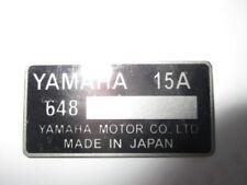 Plaque Signalétique plate plaque YAMAHA 15 A MOTO BIKE QUAD JET SKI TOHATSU s43