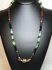 Vintage Glass Bead Necklace Burgundy Black Green Accented W/ Silver Beads
