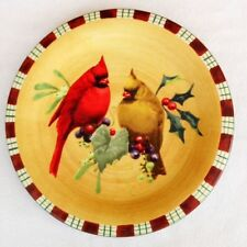 2 LENOX WINTER GREETINGS EVERYDAY CARDINAL TARTAN DESIGN SALAD OR DESSERT  PLATE