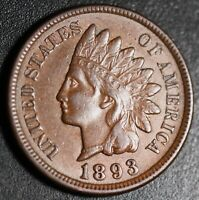 1893 INDIAN HEAD CENT -With LIBERTY & DIAMONDS - XF EF+