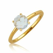 9ct Yellow Gold Aquamarine Birthstone Ring March Size M
