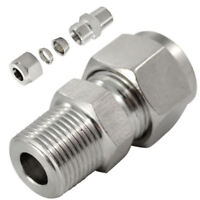 "1/4""NPT x 6MM Double Ferrule Tube Fitting Male Connector Stainless Steel 304"