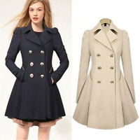 Women's Double Breasted Trench Dress Coat Lapel Jacket Fit Flare Outwear Fashion