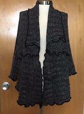 Pretty Angel Womens Sweater L Wool Linen Open Black Gray Cardigan Lagenlook