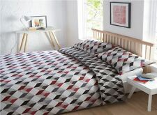 UNO Geometric King Size Quilt Duvet Cover & 2 Pillowcase Bedding Bed Set Grey