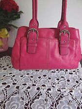 Tignanello Large Raspberry Pink Genuine Leather Satchel Shoulder Bag