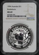 1994 Australia $1 Silver Kookaburra NGC MS-69