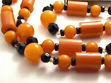Vintage Necklace Bakelite Beads & Real Swarovski Crystals Designer  OOAK 35 Inch