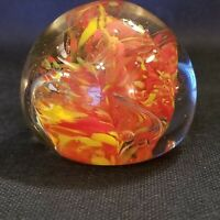 Paperweight Yellow Orange 2.5 In.