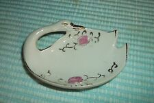 """VINTAGE WHITE SWAN PIN DISH WITH PINK FLOWERS AND GOLD TRIM JAPAN 3 3/4"""" LONG"""