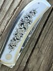 Ron Nott Custom Engraved handle lock blade knife- Damascus steel