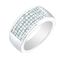 18k Solid White Men's Natural Princess Cut Diamond Ring 2.50 Carat