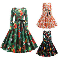 Womens Belted Vintage 1950s 60s Rockabilly Evening Prom Swing Dress Plus Size