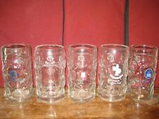 German 1 liter Beer glass mugs or steins, collection of 5 mugs, set 3